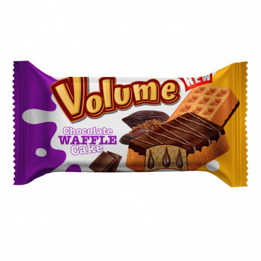 Volume Waffle Cocoa Coated Cake Filled With Chocolate Sauce