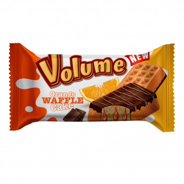 Volume Waffle Cocoa Coated Cake Filled With Orange Sauce
