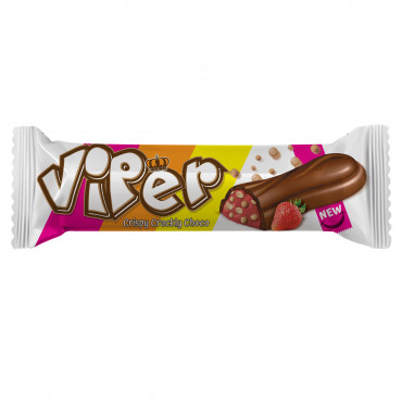 Viper Milk Compound Chocolate Filled With Strawberry Flavour Cream and Puffed Rice