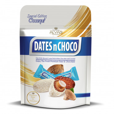 Dates N Chcoco Dates With Almond Coated With White Chocolate and Coconut
