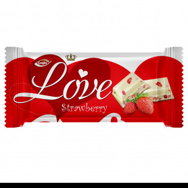 Love White Compound Chocolate with Strawberry Pieces - 80 gr