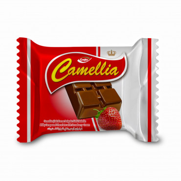 Camellia Milk Compound Chocolate Filled With Strawberry Cream - 10 gr