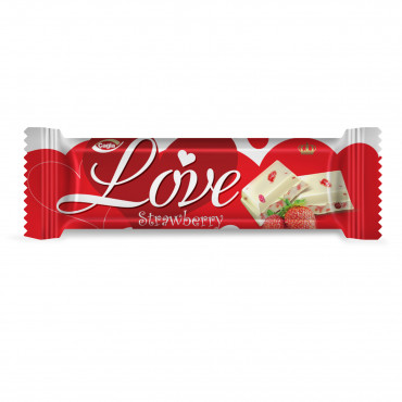 Love White Compound Chocolate with Strawberry Pieces