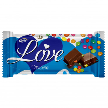 Love Milky Compound Chocolate With Hazelnut Flavored Cream Filled Dragee  - 80 gr