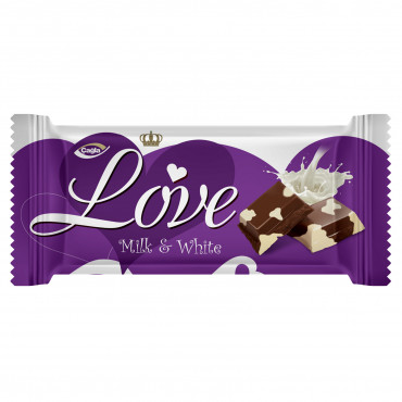 Love Milk and White Compound Chocolate Fild With Hazelnut Flavour Cream -80 gr